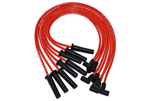 A-Team Performance 8.0 mm Double-Layer Red Silicone Spark Plug Wires BBC Big Block Compatible with Chevy Chevrolet GMC Straight Boot Wires 396, 402, 427, 454, 502, 572