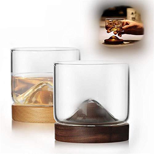 Dirgee 4 stücke modernhife Whisky Glass Cup mit hölzerner Basis 120 ml japanischer Stil Stil hölzerner Unterseite Wein Glas Tee kaffeetasse (korken), 2 (Color : 2)