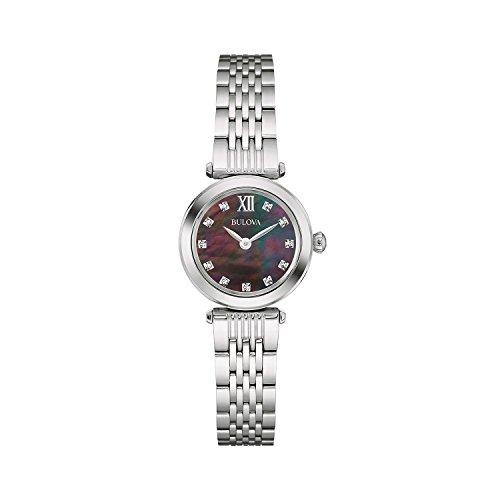 Bulova Diamond 96S169 - Orologio design - cinturino in acciaio inox, Donna, quadrante nero/madreperla