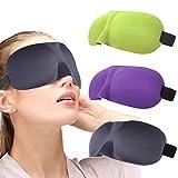 IYOU Máscara de Ojos Contorneada 3D Verde Bloqueada Hacia Fuera la luz Cómoda Sombra Ojos Noche Cubierta Viaje Yoga Siesta Máscara Dormir para Hombres y Mujeres (Paquete de 3)