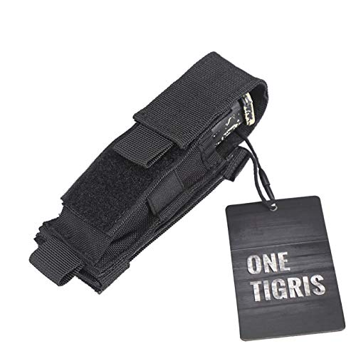 OneTigris Tactical MOLLE Folding Knife Sheath Horizontal Vertical Belt Tool Pouch Single Pistol Mag Pouch (Black - Hook-and-loop Closure)