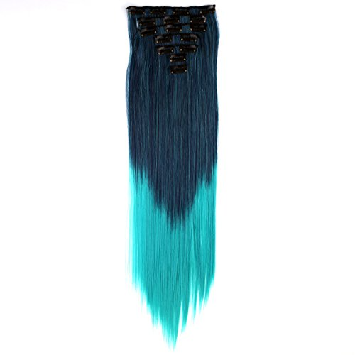 Miss U Hair 24'/60cm 130g 7pcs/set Women Long Straight Synthetic Hair Full Head Clip in Hair Extensions Pieces (Ombre Blue)