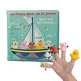 LUDI - Livre d'éveil en plastique pour jouer à l'heure du bain. Dès 10 mois. 5 marionnettes de doigts : mouton, cochon, chien, canari et vache. Facile à nettoyer. Développe le langage - 40017