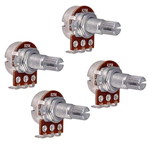 JINGERL 25k Gitarre Bass Split Welle Potentiometer für Volumen oder Ton für E-Gitarre mit einem 18-mm-Potentiometer
