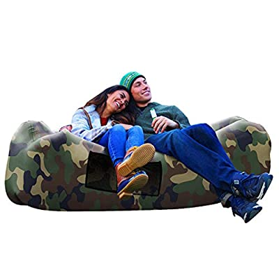 AlphaBeing Inflatable Lounger - Best Air Lounger for Travelling, Camping, Hiking - Ideal Inflatable Couch for Pool and Beach Parties - Perfect Air Chair for Picnics or Festivals (CAMO Green)