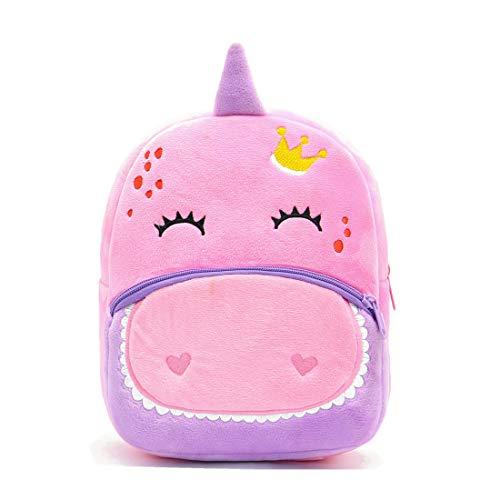 Mochila infantil fofa de pelúcia desenho animado mini bolsa de viagem para bebês meninos de 2 a 6 anos, Pink Dinosaur, One Size