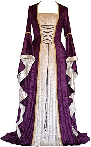 Geplaimir Mittelalter Kleidung Damen Renaissance Kostüme Samt Kleid für Halloween Fasching Karneval Hexe Vampire Gothic Cosplay Kostüm G006PXXL