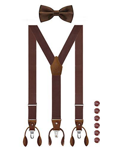 Aissy Herren Hosenträger mit Fliege Set 2 WAY TO WEAR Neue Version 3.5cm Y-Form Elastisch und Längenverstellbar Hosenträger für Herren und Damen 2 WAY Braun