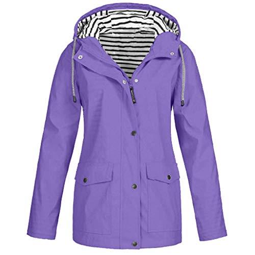 PKTOP Outdoor-Regenjacke, einfarbig, groß, wasserdicht, mit Kapuze, winddicht, für Damen Gr. Small, violett