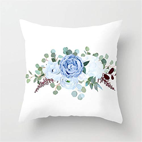 Fundas de Cojín Decorativos Flor Azul Blanca Cuadradas Terciopelo Suave Funda de Almohada Cubierta para Cojines Sofá Sala de Estar Dormitorio Cama Decorativo Throw Pillow Case Pillowcase,60x60cm R9557