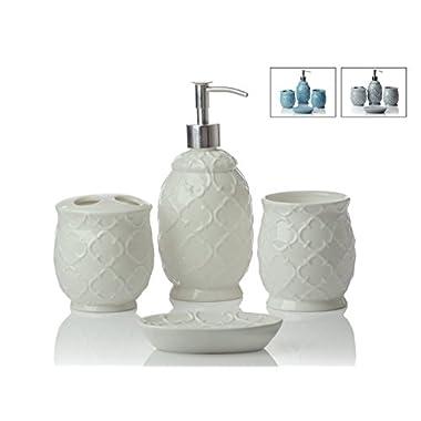 Designer 4-Piece Ceramic Bath Accessory Set | Includes Liquid Soap Lotion Dispenser w/Toothbrush Holder, Tumbler, Soap Dish | Moroccan Trellis | Contour White