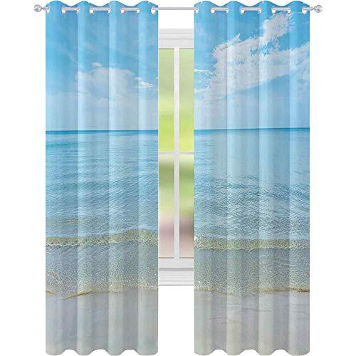 Thermisch geïsoleerde verduisteringsgordijnen, zonnige zomerdag op het zandstrand, rustig kalm wal-zee horizon afbeelding kunstprint, W52 x L72 gordijnen voor woonkamer, slaapkamer, blauwe crème