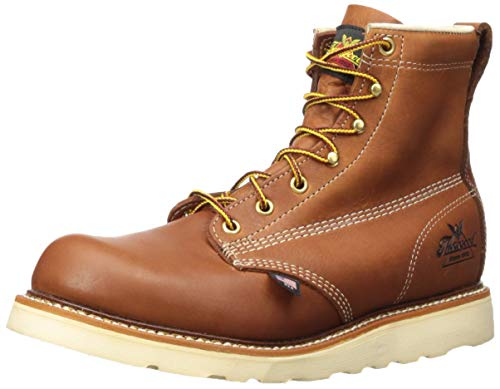 """Thorogood Men's 814-4355 American Heritage 6"""" Tobacco Plain Toe, MAXWear Wedge Non-Safety Toe Boot, Tobacco Oil-Tanned - 10 D US"""