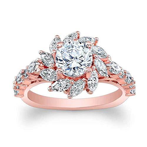 Read About Goddesslili Rose Gold Ring for Women Girlfriend Quartz Jewelry Sun Flower Diamond Zircon ...