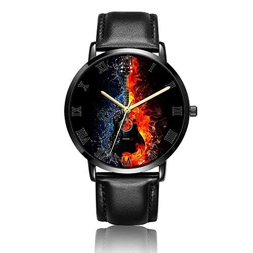 Hdaw Personalisierte schwarze Gitarre Armbanduhr Unisex Analog Quarz Mode Schwarzes Lederarmband Armbanduhr für Jungen und Mädchen