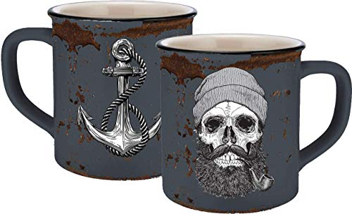 infinite by GEDA LABELS (INFKH) 13660 Totenkopf Sailor Skull Emaille-Optik Tasse, Keramiktasse, Kaffeetasse, Keramik, Blau