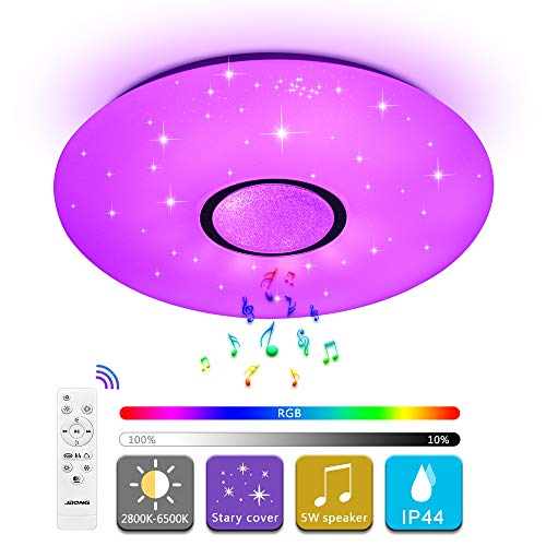 Deckenleuchte mit Bluetooth Lautsprecher und Fernbedienung JDONG 24W Farbwechsel, Sternen, dimmbar, Warmweiss- Kaltweiss, IP44 Wasserfest Badzimmerleuchte (ohne APP-Steuerung)