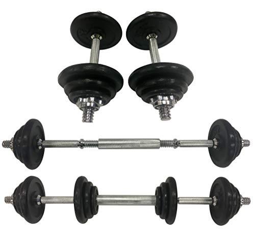 Set manubri Regolabili in ghisa da 20kg con Manici Resistenti trasformabili in bilancieri, Facilmente maneggevoli per Allenamento Fitness, Sollevamento Pesi, Palestra in casa