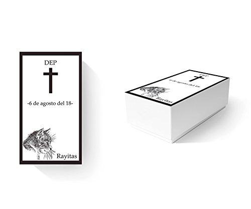 Ataúd para Animales Ecológico Gatos 100% Personalizado   Medidas 60,00 x 30,00 cm x 20,00 cm   Cartón microcanal Simple 1,6 mm   Impresión Completa y Personalizada   Ligero, Resistente