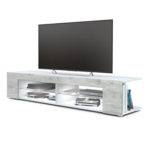 Vladon TV Board Lowboard Movie, Korpus in Weiß matt/Fronten in Beton Oxid Optik inkl. LED Beleuchtung in Weiß