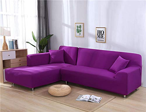 Noctiflorous Sitzer Sofabezug Sofaüberwurf Stretch,Einfarbige Ecksofabezüge für Wohnzimmer Elastic Couch Cover-Candy_Purple_2-Seat_and_4-Seat,Sofahusse Couchbezug