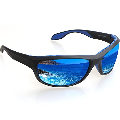 Polarized Sports Sunglasses - 100% UV Protection Sport Glasses for Men Women TR90 Unbreakable Frame for Bike Fishing Driving Running Climbing Outdoor Activities