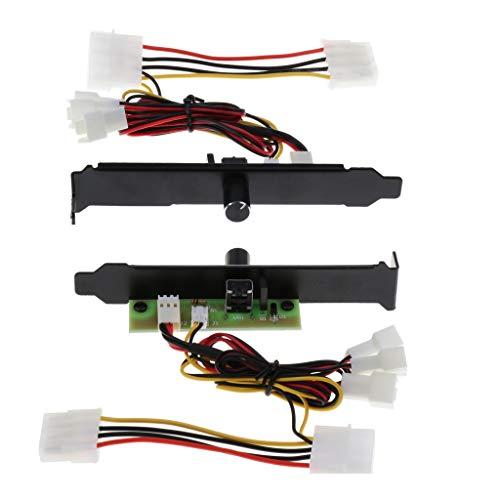 IPOTCH Cantidad (2x) 3 Canales PC Refrigerador Ventilador Controlador Concentrador Soporte 12V