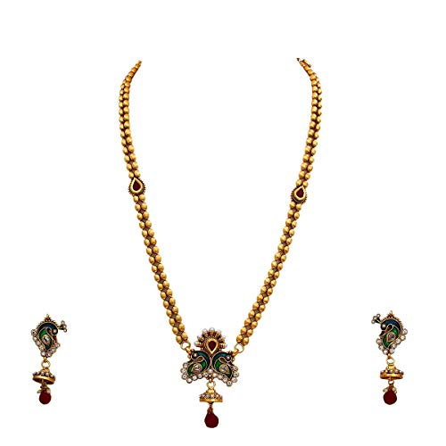 55Carat Exclusive Peacock Necklace Set Gold Plated Ruby Crystal Studded Handmade Traditional Fashionable Bridal Jewellery for Women and Girls