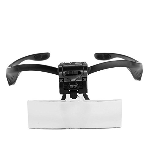 TOOGOO(R) Lupenbrille Brillenlupe Lupe mit 2 LEDs 5 Linse Vergroesserung Reparatur Haltbar
