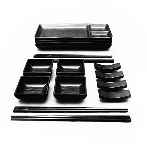 GOLIBER Servizio Piatti Giapponese per Sushi in Melamina(16 pcs) - Include 4 Piatti di Sushi, 4 Ciotoline Per Salse, 4 Set Bacchette Giapponesi e 4 Porta Bacchette - Servizio Giapponese (Nero)