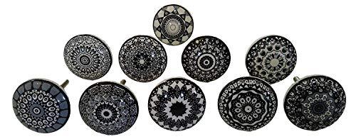 20 tiradores vintage de cerámica con distintos diseños de flores, ideales para puertas, armarios, cajones y cómodas, diseños distintos, color negro