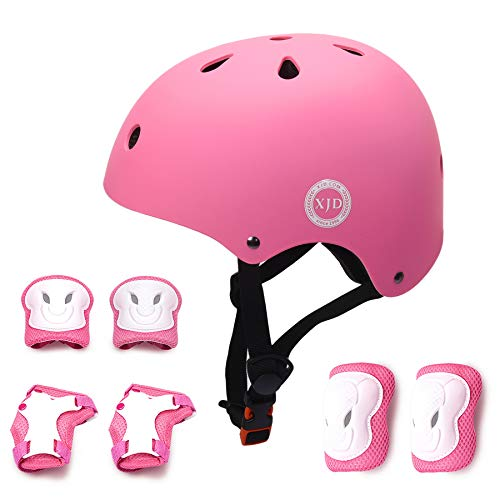 XJD Kids Helmet 8-13 Years Boys Girls Adjustable Sports Protective Gear Set from Toddler to Youth Helmet Knee Elbow Wrist Pads Cycling Roller Scooter Bicycle Bike Skateboard Protector Pink M