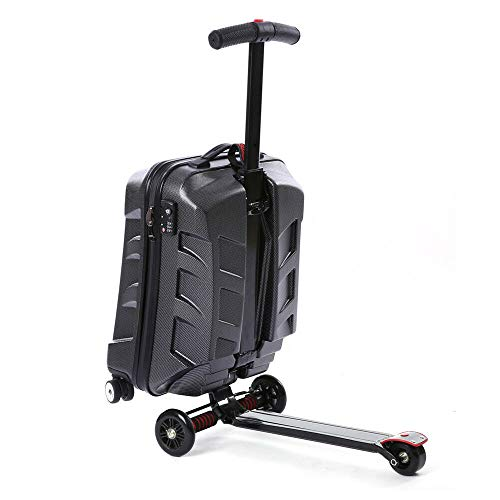 Berkalash 21 '' Suitcase Scooter, Trolley Luggage Kick-Board, Koffergepäck mit Skateboard, Schwarz