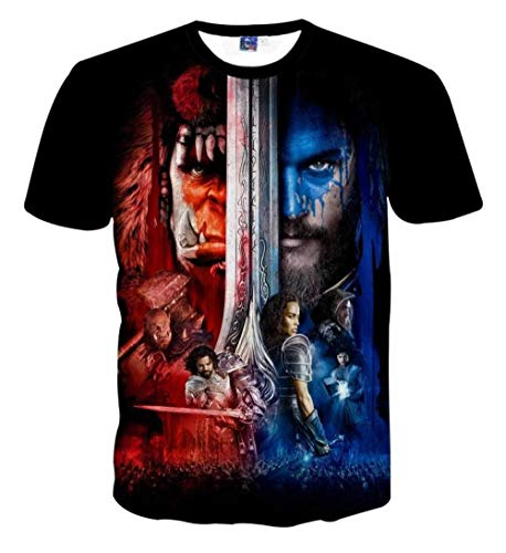Camiseta 3D Europa y Estados Unidos Impresión Digital HD Extraño World of Warcraft Personalidad Creativa Tendencia Casual Manga Corta@Photo Color_XL