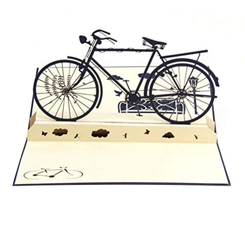 VALICLUD 1PC 3D Vater Tag Blessing Karten Dreidimensionale Retro Bike Grußkarten 3D Bike Blessing Karten Novel 3D Bike Nachricht für Party Use Navy