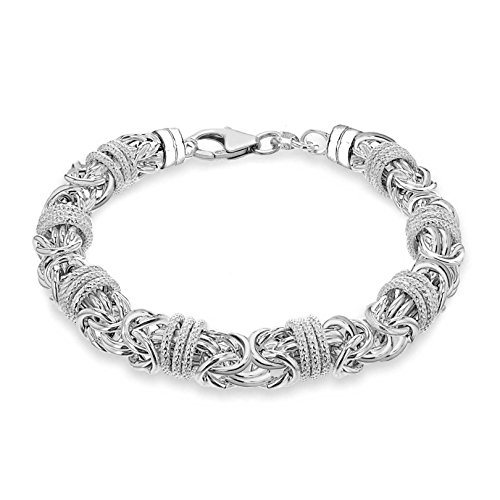 Tuscany Silver Sterling Silver Chunky Byzantine and Rings Bracelet of Length 21cm21