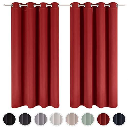 Blumtal 2er-Set Gardinen Verdunkelungsvorhang Blickdicht - Eleganter Vorhang mit Ösen für Schlafzimmer, 225 x 140 cm, Aurorarot