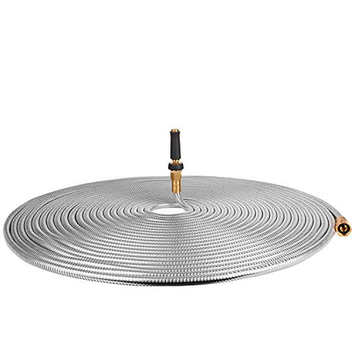 TOUCH-RICH 304 Stainless Steel Garden Hose, Lightweight Metal Hose with Free Nozzle, Guaranteed Flexible and Kink Free (100FT, Stainless)