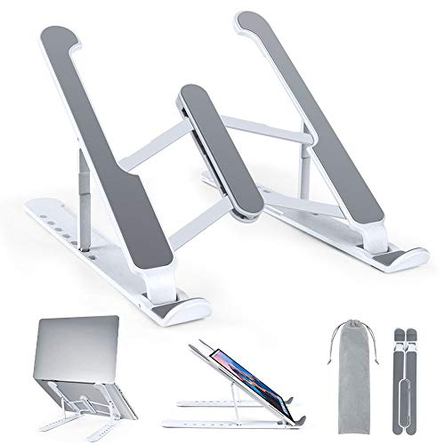 Soporte Portatil Mesa, 7 Ángulos Adjustable Plegable Aleación de Aluminio Laptop Stand, Refrigeración Soporte Ordenador Portátil para Macbook, DELL, XPS, HP, Mi Portátiles de 10' a 15.6' (Plateado)