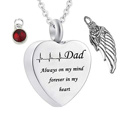 Amody Colgante Cenizas Acero Inoxidable Corazón con ala Piedra del Zodíaco Dad Always on My Mind Forever in My Heart Colgantes de Cenizas Colgantes Hombre Mujer de Cenizas