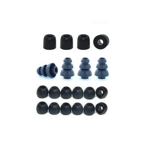 Extra Small - Earphones Plus Brand Replacement Earphone Tips Custom fit Assortment: Memory Foam Earbuds, Triple Flange Ear Tips, and Standard Replacement Ear Cushions