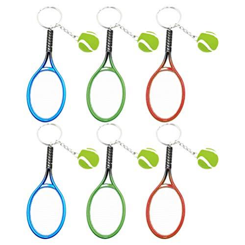 Amosfun 6 llaveros de raqueta de tenis con colgante de raqueta de tenis, llavero deportivo, bolsa de regalo, recuerdo para coche, decoración para fiestas, bolsas de regalo (color mixto)