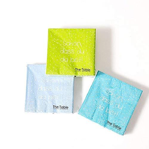 Home Collection 3-lagige Servietten, blau grün mit Punkten, Schön DASS du da bist, Party Deko, 33x33cm, 3er Set, 60Stück