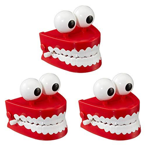 Cepewa 3 x Klappergebiss zum Aufziehen Klapperzähne Scherzartikel Aufziehfigur Partyspass (3 x Klappergebiss)