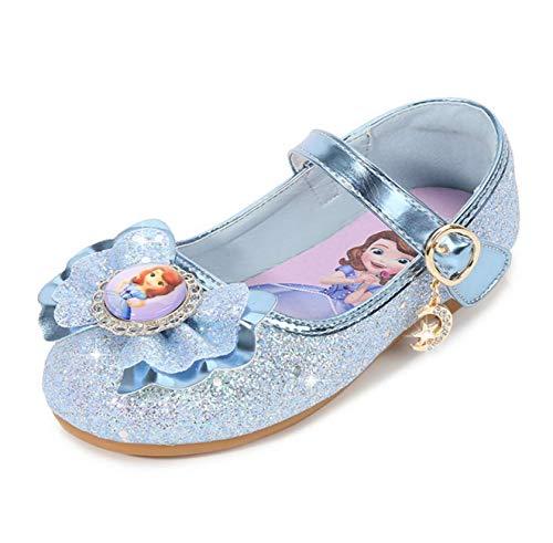 STRDK Niña Princesa Zapatos Sandalias Elsa Reina de Nieve Sofía Princesa Disfraz Zapatos de Cristal a Juego Niños Baile Zapatos Tacones Altos Fiesta de Vestir Lentejuelas Arco Cosplay Fiesta Zapatos