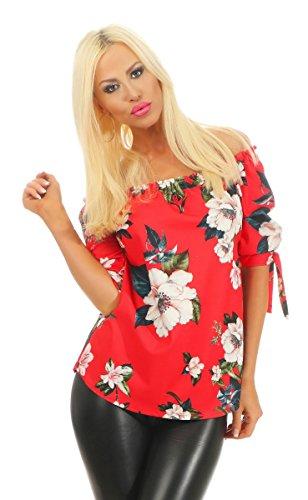 Fashion4Young 11545 dames bandeau blouse tuniek off-shoulder schoudervrij bloemen gebloemd carmenblouse