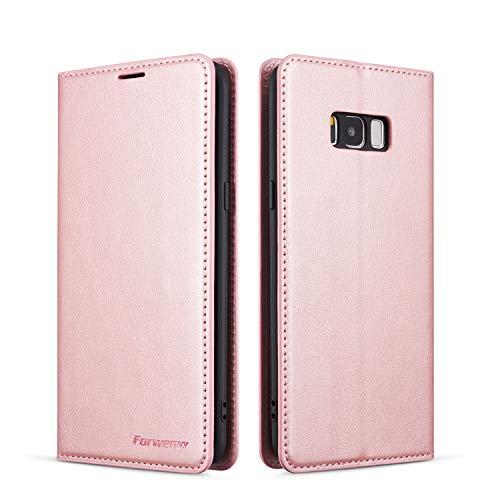 EYZUTAK Hülle für Samsung Galaxy S7 Edge, Magnetverschluss Premium PU Leder Flip Case mit Kartenfächern Brieftasche Standfuntion stoßfeste Silikonhülle Retro Ledertasche - Roségold