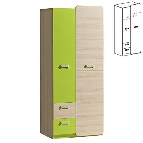 Furniture24 Kleiderschrank LORENTO L1 Drehtürenschrank Kleiderstange 2 Türiger Schrank mit 2 Schubladen (Esche Coimbra/Lime Grü)