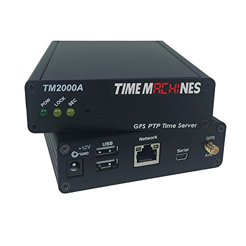 TimeMachines, PTP Network Time Server with GPS, TM2000B, A GPS Antenna maintains Current time Broadcast by U.S. Satellites
