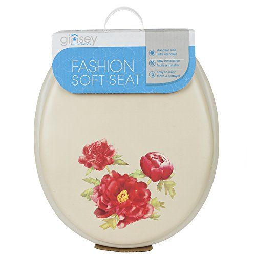 Ginsey Standard Soft Toilet Seat with Plastic Hinges, Peony Bone